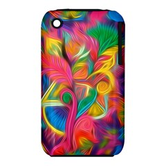 Colorful Floral Abstract Painting Apple iPhone 3G/3GS Hardshell Case (PC+Silicone)