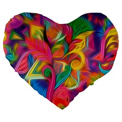 Colorful Floral Abstract Painting Large 19  Premium Heart Shape Cushion