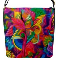 Colorful Floral Abstract Painting Flap Closure Messenger Bag (small)