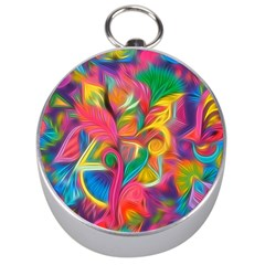 Colorful Floral Abstract Painting Silver Compass