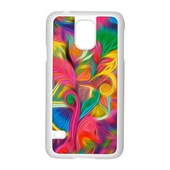 Colorful Floral Abstract Painting Samsung Galaxy S5 Case (White)