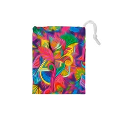 Colorful Floral Abstract Painting Drawstring Pouch (Small)