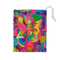 Colorful Floral Abstract Painting Drawstring Pouch (Large)