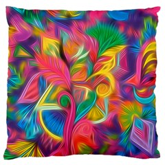 Colorful Floral Abstract Painting Large Flano Cushion Case (one Side)