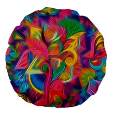 Colorful Floral Abstract Painting Large 18  Premium Flano Round Cushion