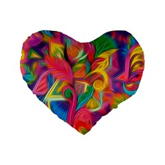 Colorful Floral Abstract Painting Standard 16  Premium Flano Heart Shape Cushion