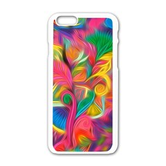 Colorful Floral Abstract Painting Apple iPhone 6 White Enamel Case