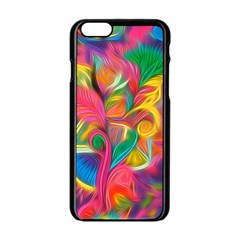 Colorful Floral Abstract Painting Apple Iphone 6 Black Enamel Case