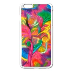 Colorful Floral Abstract Painting Apple iPhone 6 Plus Enamel White Case