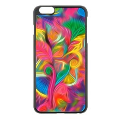 Colorful Floral Abstract Painting Apple Iphone 6 Plus Black Enamel Case