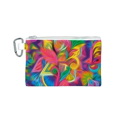 Colorful Floral Abstract Painting Canvas Cosmetic Bag (Small)