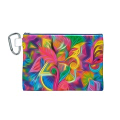 Colorful Floral Abstract Painting Canvas Cosmetic Bag (Medium)