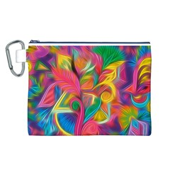 Colorful Floral Abstract Painting Canvas Cosmetic Bag (Large)