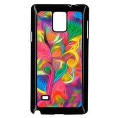 Colorful Floral Abstract Painting Samsung Galaxy Note 4 Case (Black)