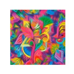 Colorful Floral Abstract Painting Small Satin Scarf (square)