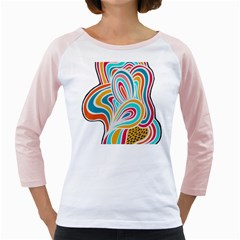 Doodle design Women s Long Cap Sleeve T-Shirt (White)