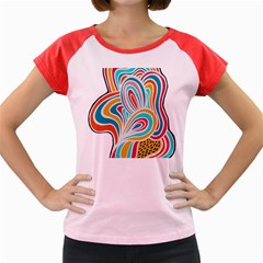 Doodle Pattern Women s Cap Sleeve T-Shirt (Colored)