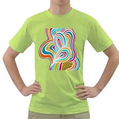 Doodle Pattern Men s T-shirt (Green)