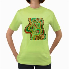 Doodle Pattern Text Women s T-shirt (Green)