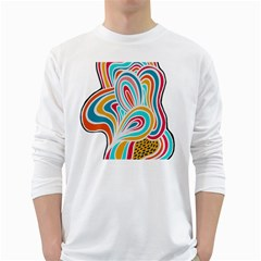 Doodle Pattern Text Men s Long Sleeve T-shirt (White)