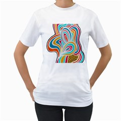 Doodle design Women s Two-sided T-shirt (White)