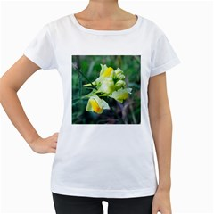 Linaria Flower Women s Loose-Fit T-Shirt (White)