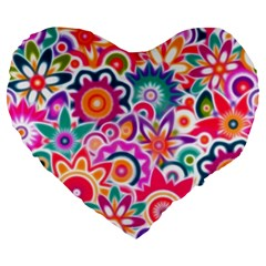 Eden s Garden Large 19  Premium Flano Heart Shape Cushion