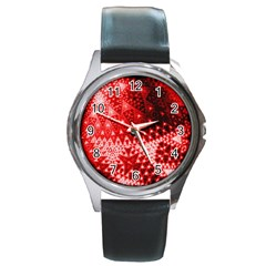 Red Fractal Lace Round Leather Watch (silver Rim)