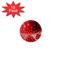 Red Fractal Lace 1  Mini Button Magnet (10 Pack)