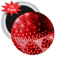 Red Fractal Lace 3  Button Magnet (10 Pack)