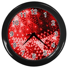 Red Fractal Lace Wall Clock (black)