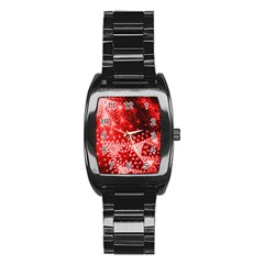 Red Fractal Lace Stainless Steel Barrel Watch