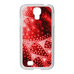 Red Fractal Lace Samsung Galaxy S4 I9500/ I9505 Case (white)
