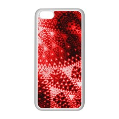 Red Fractal Lace Apple iPhone 5C Seamless Case (White)