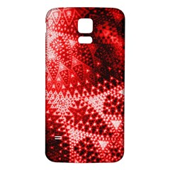 Red Fractal Lace Samsung Galaxy S5 Back Case (White)