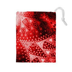 Red Fractal Lace Drawstring Pouch (large)