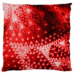 Red Fractal Lace Large Flano Cushion Case (one Side)