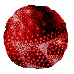 Red Fractal Lace Large 18  Premium Flano Round Cushion