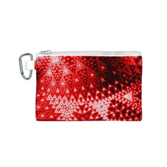Red Fractal Lace Canvas Cosmetic Bag (Small)