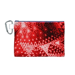 Red Fractal Lace Canvas Cosmetic Bag (Medium)