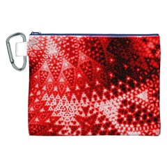 Red Fractal Lace Canvas Cosmetic Bag (xxl)