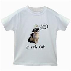 Pi-rate Cat Kids T-shirt (White)