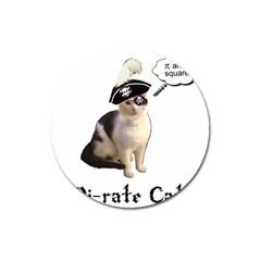 Pi Rate Cat Magnet 3  (round)