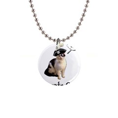 Pi Rate Cat Button Necklace