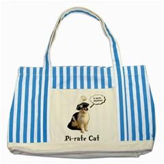 Pi Rate Cat Blue Striped Tote Bag