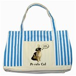 Pi-rate Cat Blue Striped Tote Bag Front