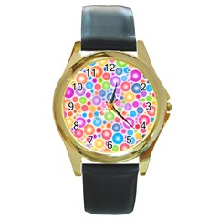 Candy Color s Circles Round Leather Watch (gold Rim)