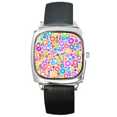 Candy Color s Circles Square Leather Watch