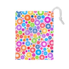 Candy Color s Circles Drawstring Pouch (large)