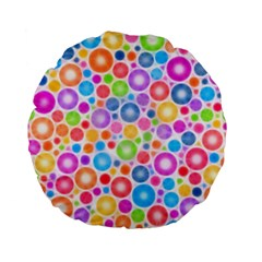 Candy Color s Circles Standard 15  Premium Flano Round Cushion